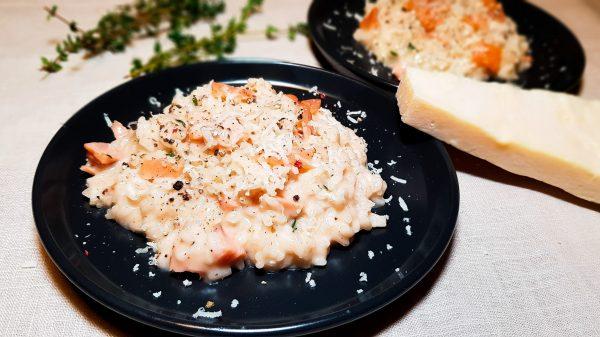 Rosé risotto met gerookte zalm