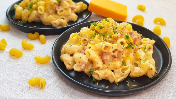Mac'n cheese met bacon en cheddar