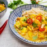 Thaise viscurry met kabeljauw en garnalen