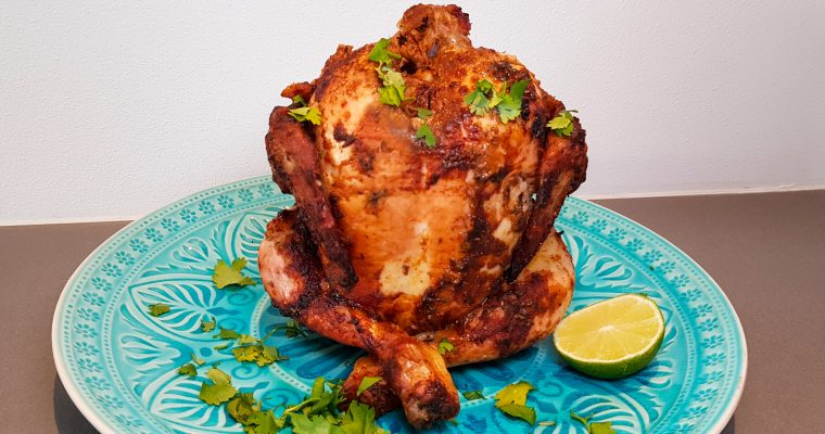 Beer can chicken (Kip met Mexicaans bier)