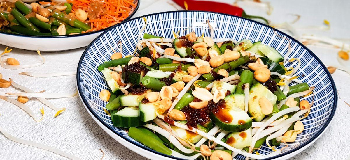 Ketjap boontjes met komkommer en taugé