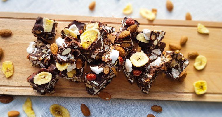 Rocky road van pure chocolade met banaan