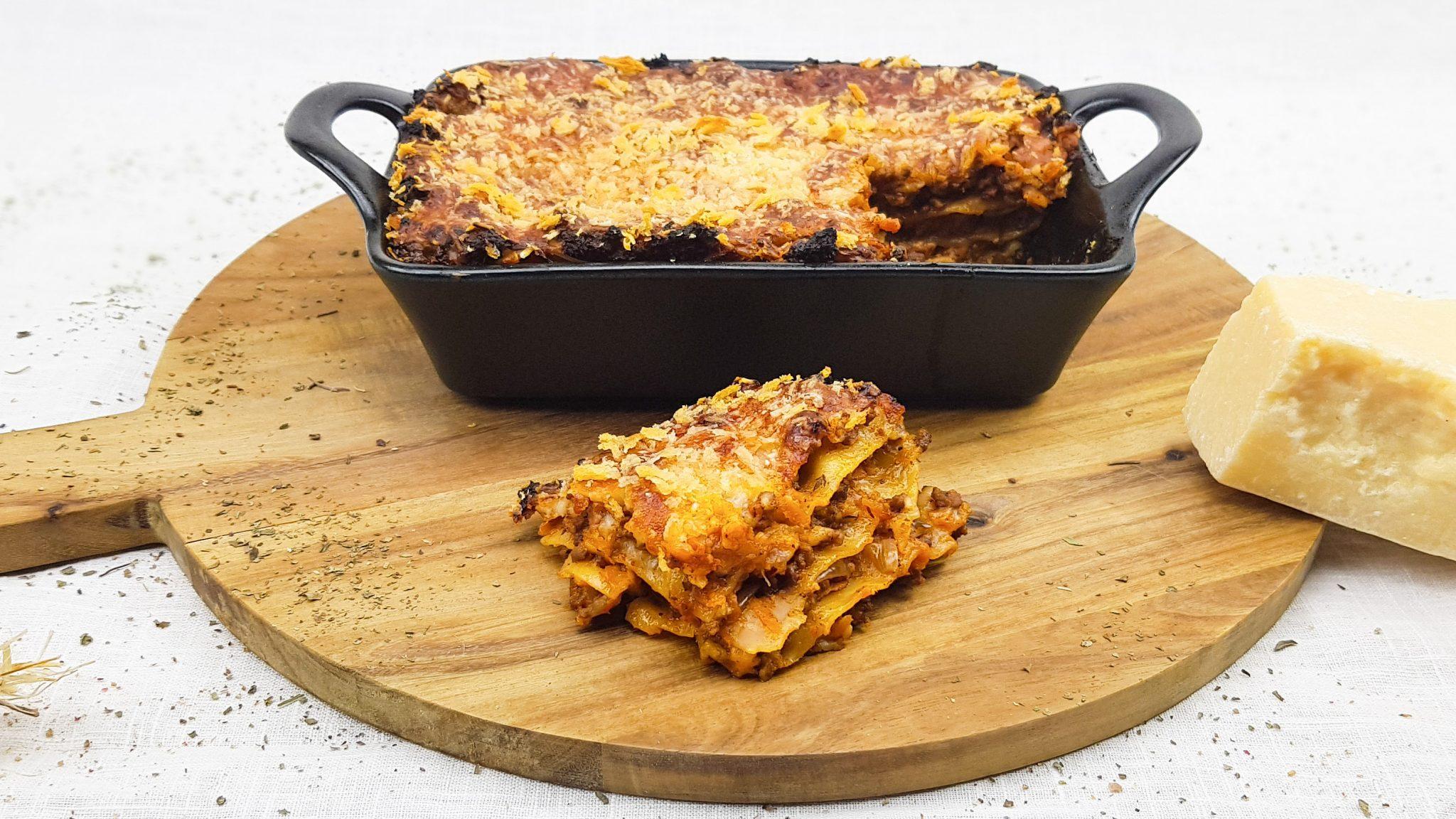Lasagne met bechamelsaus en pancetta