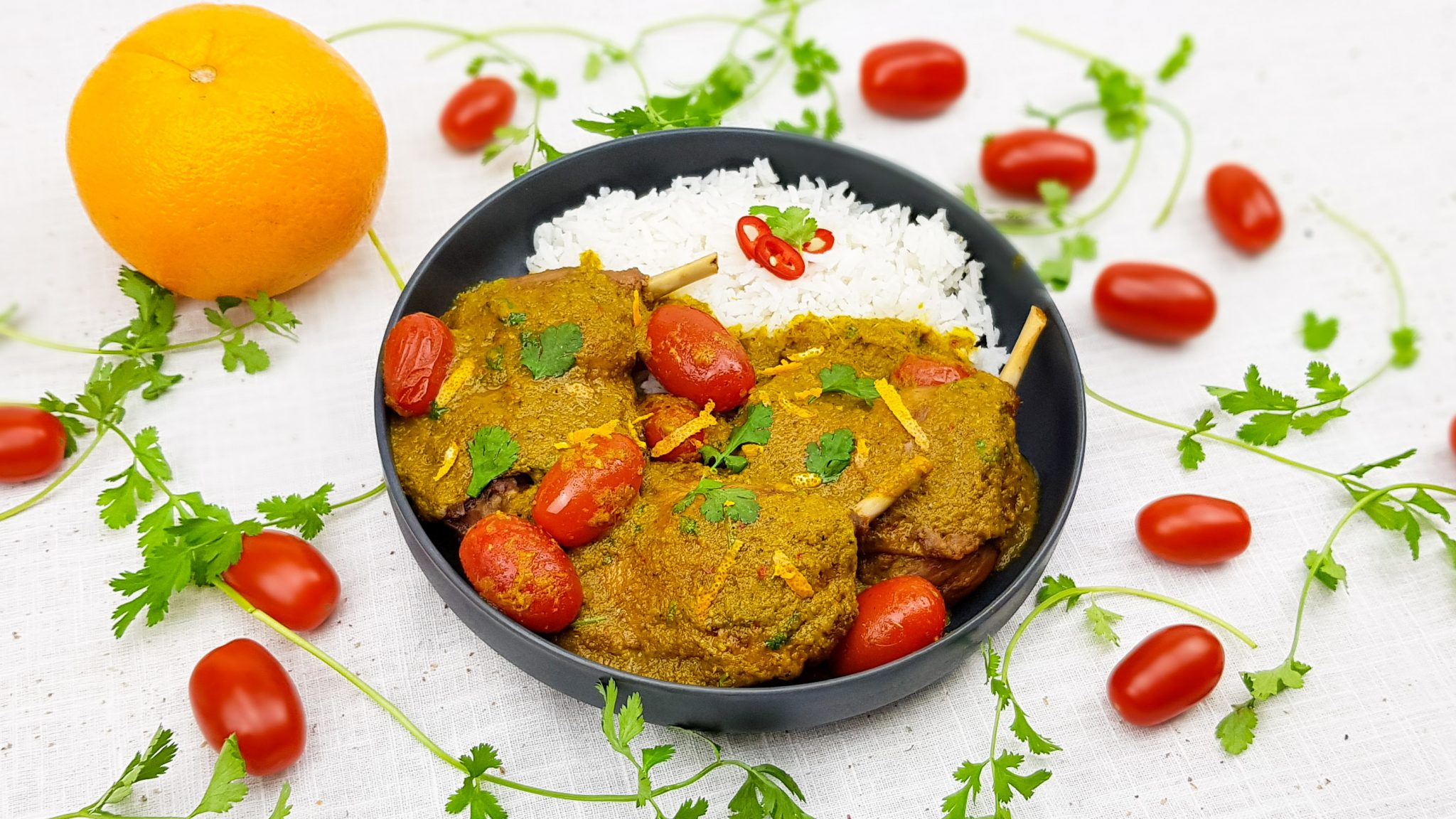 Confit de canard sinaasappel curry