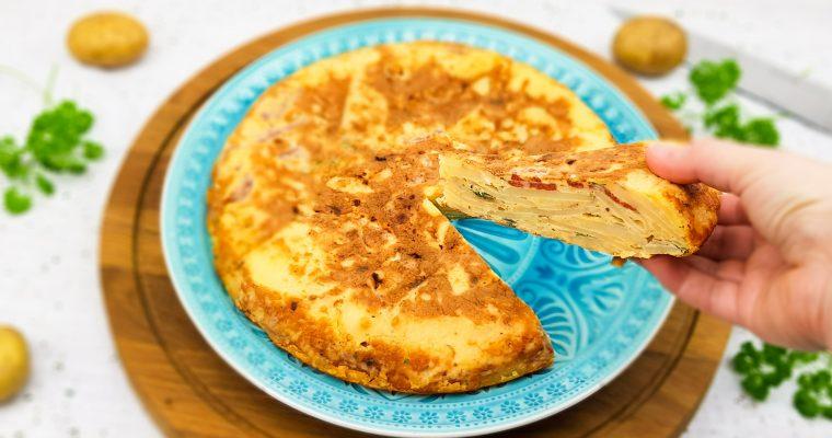 Tortilla met chorizo en oude kaas