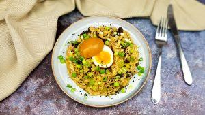 Miso risotto met lente ui, sesamzaad en een soja ei