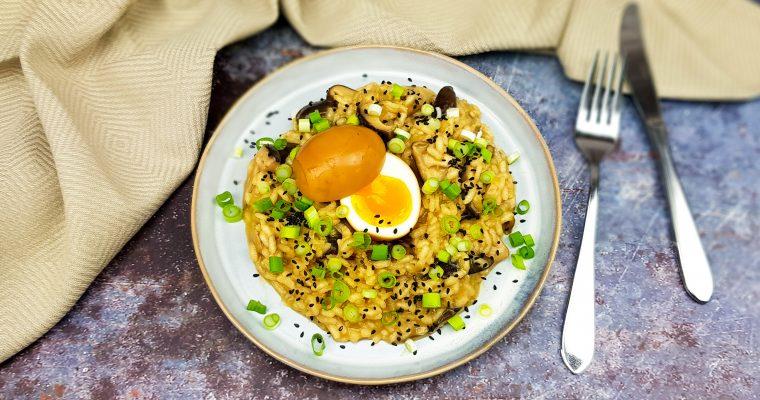 Miso risotto met een soja eitje