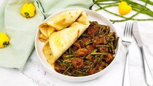 Surinaams zoutvlees met kouseband en roti