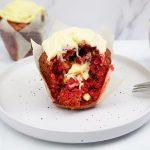 Red velvet muffins met witte chocolade