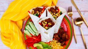 Sparerib fajita's met verse groenten