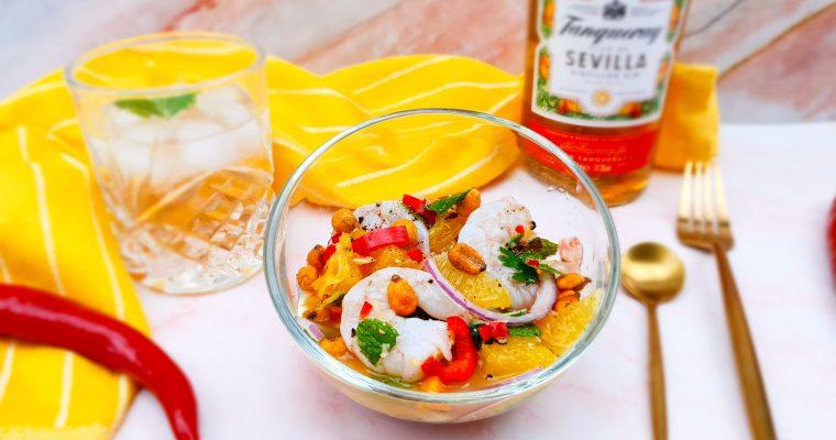 Ceviche van gamba's met sinaasappel gin