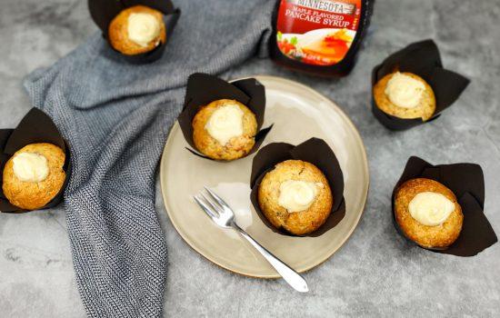 Muffins met pancetta en maple syrup