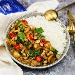 Curry met paddenstoelen en zoete aardappel