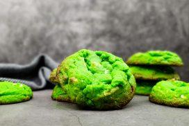 Pandan cookies met witte chocolade