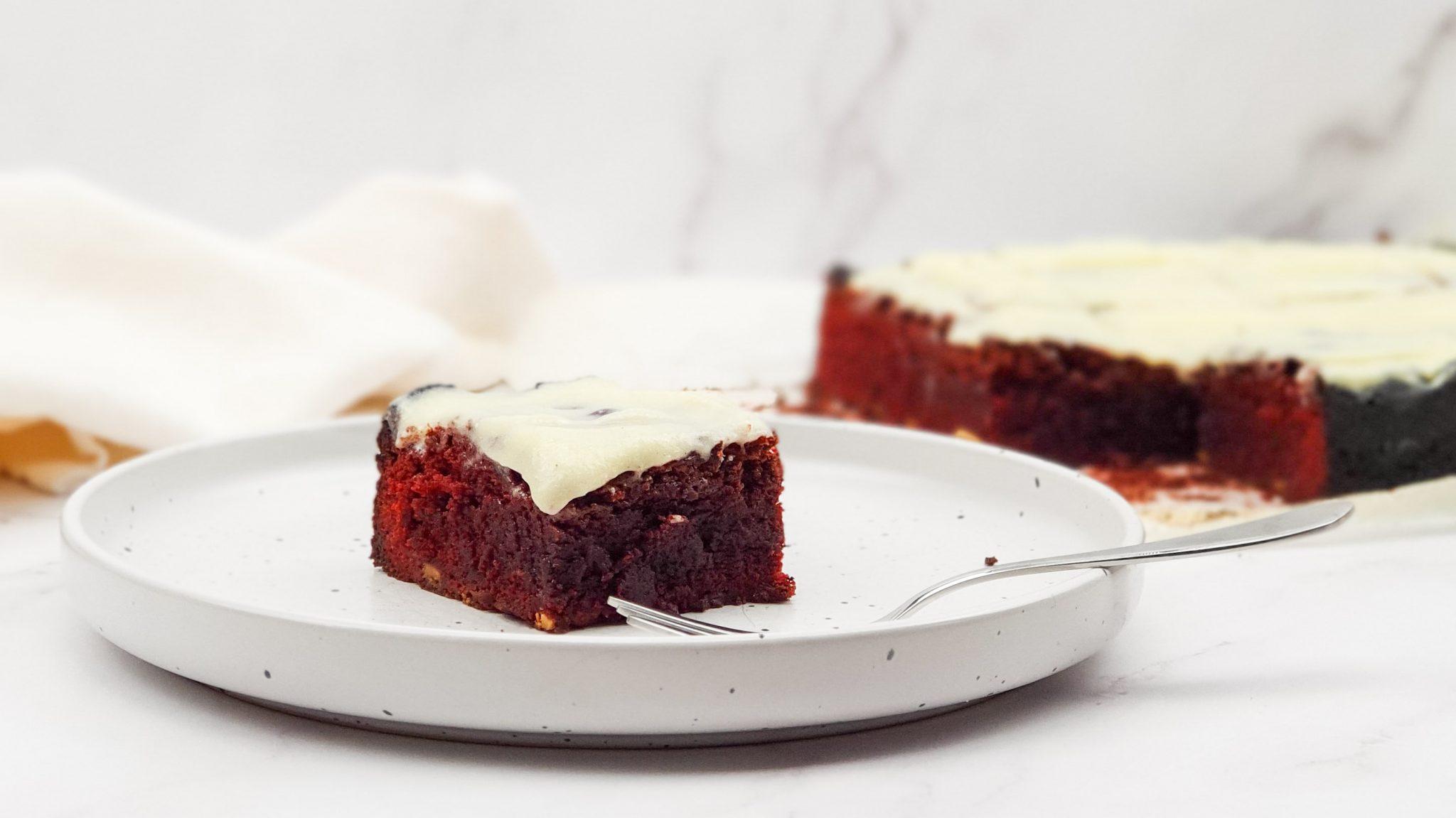 Red velvet brownies met monchou