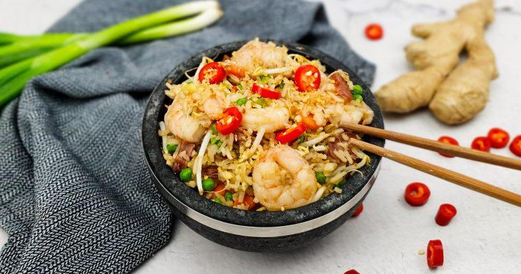 Chinese gebakken rijst met lap cheong