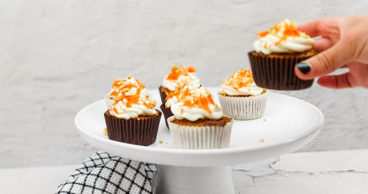 Carrot cupcakes met witte chocolade