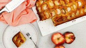 Perzik plaatcake met peach tree perziklikeur