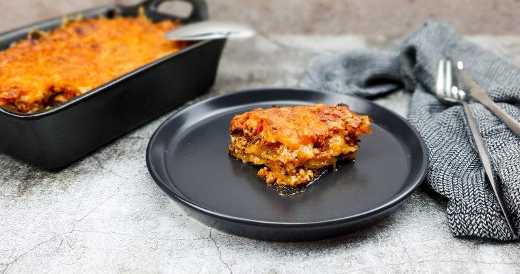 Kip pesto lasagne met mozzarella